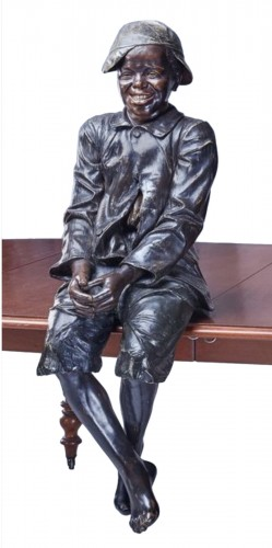 Friedrich GOLDS:LIFE-SIZE AUSTRIAN POLYCHROME TERRACOTTA SEATED BOY