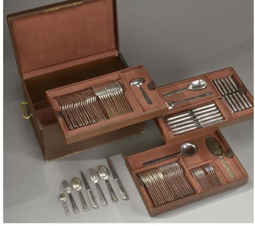 """Jean Puiforcat """"Bayonne"""" Flatware Part Service, circa 1924 92 pieces - Antique Silver Style"""