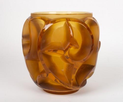 "Glass & Crystal  - René lalique Vase ""Tourbillon"" Amber teinted"