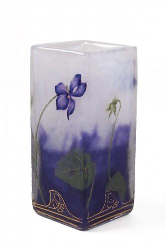 "Daum Nancy - Enamelled Vase ""Violets"""