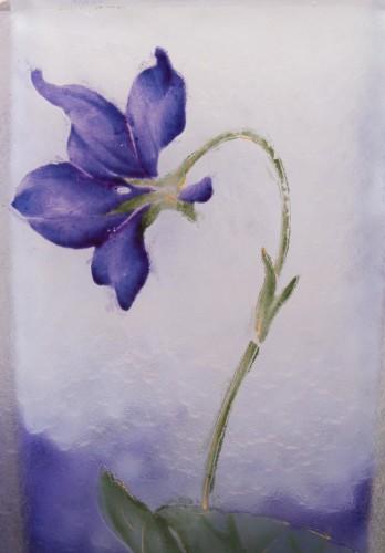 "Daum Nancy - Enamelled Vase ""Violets"" - Glass & Crystal Style"