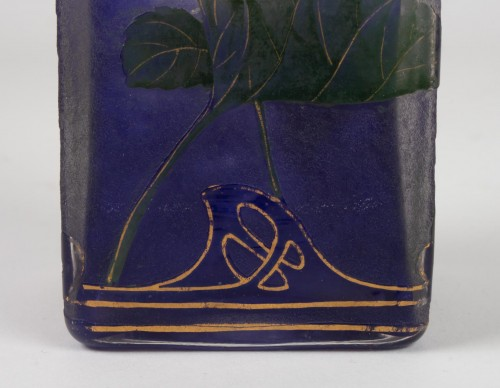 "Glass & Crystal  - Daum Nancy - Enamelled Vase ""Violets"""