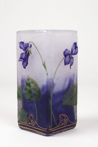 "Daum Nancy - Enamelled Vase ""Violets"" -"
