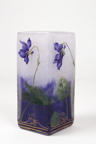 "- Daum Nancy - Enamelled Vase ""Violets"""