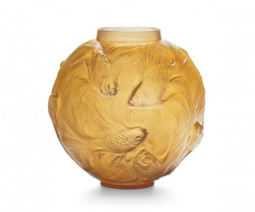 "René Lalique  - Vase Formose "" Butterscotch"""