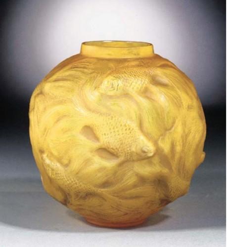 "René Lalique  - Vase Formose "" Butterscotch"" - Glass & Crystal Style"