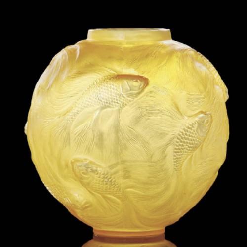 """Glass & Crystal  - René Lalique  - Vase Formose """" Butterscotch"""""""