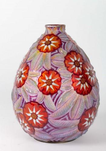20th century - Camille FAURÉ (Limoges, 1874 - 1956) - Enamelled vase