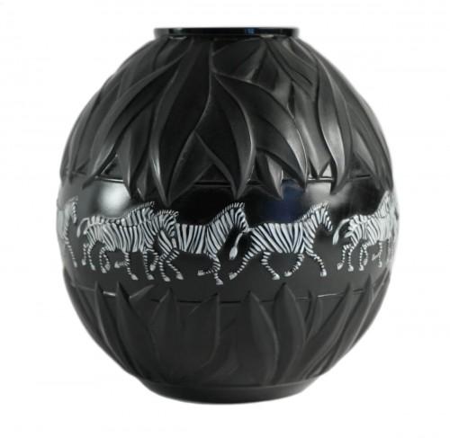"""Marie Claude Lalique - Pair of """"Tanzania"""" Zebras vases"""