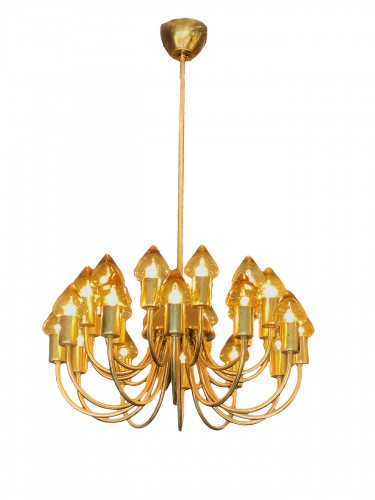 Arne Jacobsen : Pair of Scale Brass Chandelier