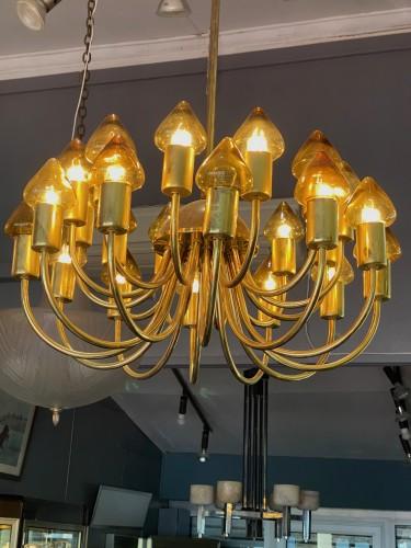 Lighting  - Arne Jacobsen : Pair of Scale Brass Chandelier
