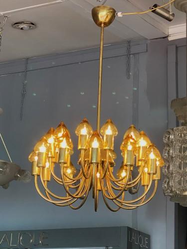 20th century - Arne Jacobsen : Pair of Scale Brass Chandelier