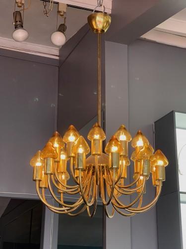 - Arne Jacobsen : Pair of Scale Brass Chandelier