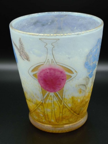 "Daum Nancy -   ""Hydrangeas"" Vase  - Glass & Crystal Style Art nouveau"