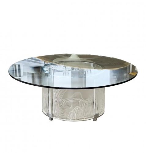 """Marie Claude Lalique :"""" 3 Lionnes"""" Cristal Table"""