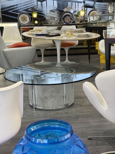 """Marie Claude Lalique :"""" 3 Lionnes"""" Cristal Table - Furniture Style"""
