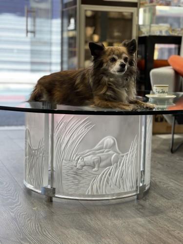 """Furniture  - Marie Claude Lalique :"""" 3 Lionnes"""" Cristal Table"""
