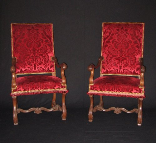 French Pair of Louis XIV armchairs
