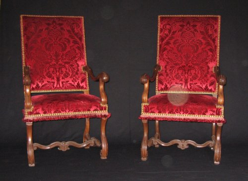 French Pair of Louis XIV armchairs - Seating Style Louis XIV
