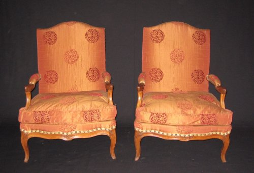 "Pair of armchairs so-called ""fireside - coin de feu"" Louis XV period"
