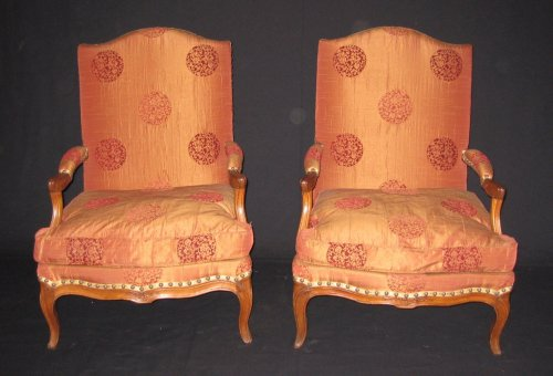 "Seating  - Pair of armchairs so-called ""fireside - coin de feu"" Louis XV period"