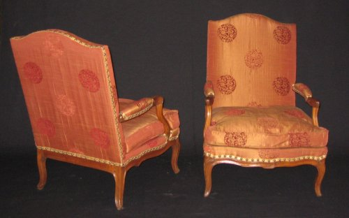 "Antiquités - Pair of armchairs so-called ""fireside - coin de feu"" Louis XV period"