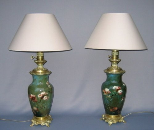 Pair of Impressionist faience lamps