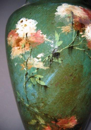 Antiquités - Pair of Impressionist faience lamps