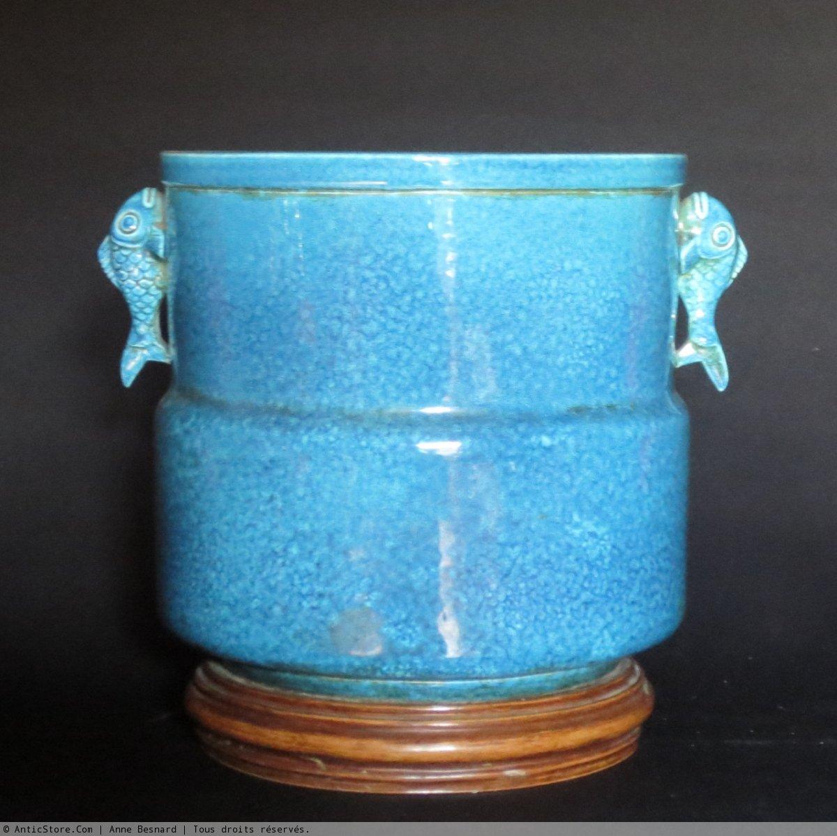 Cache pot en c ramique bleue d cor japonisant xxe si cle - Cache pot ceramique ...