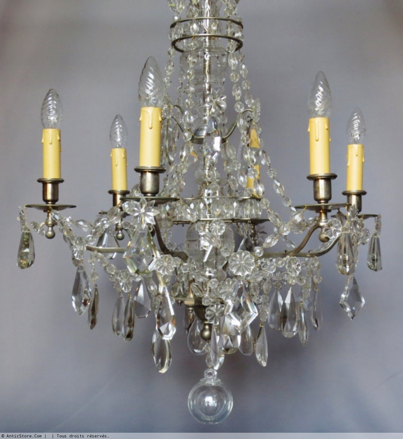 lustre en bronze argent et cristal fin xixe si cle. Black Bedroom Furniture Sets. Home Design Ideas