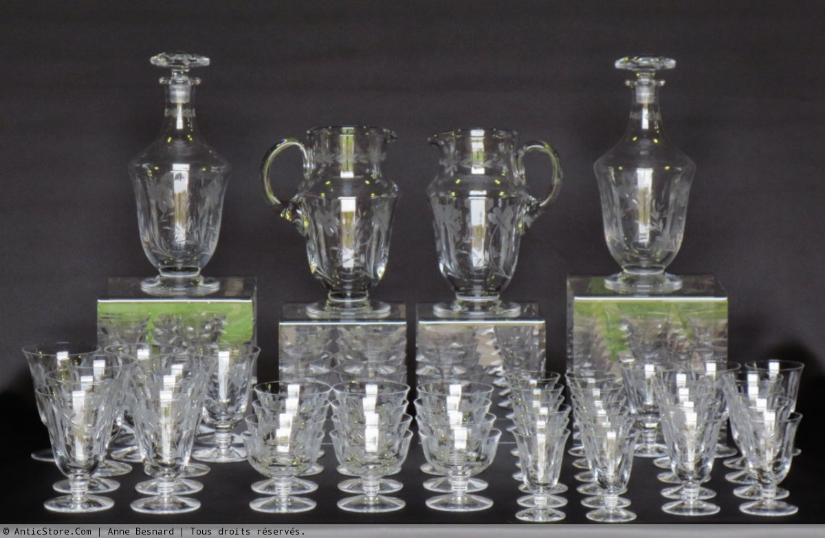 service de verres en cristal poque 1930 xxe si cle. Black Bedroom Furniture Sets. Home Design Ideas