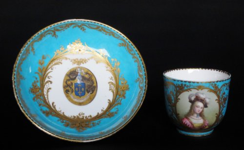 Sèvres porcelain cup and saucer, 18th century -