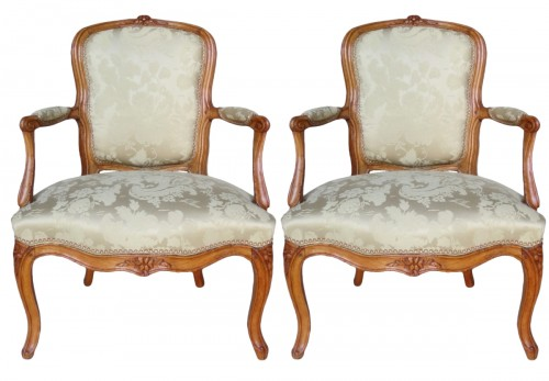 Pair of Louis XV period armchairs, stamped MDLP