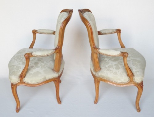 Seating  - Pair of Louis XV period armchairs, stamped MDLP