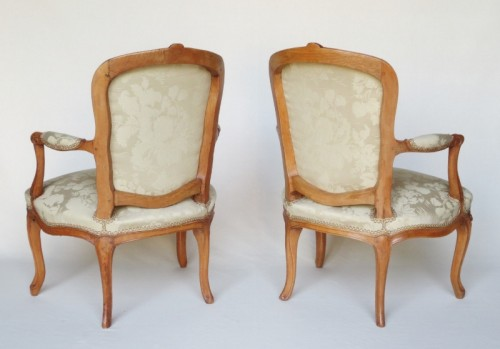 Pair of Louis XV period armchairs, stamped MDLP -