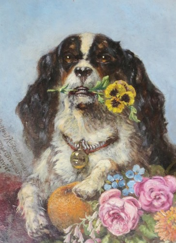 Cavalier King-Charles, - Martinus Kuytenbrouwer (1821-1897) - Tableaux et dessins Style