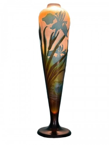Emile Gallé - Iris and water lilies vase