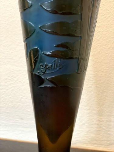Glass & Crystal  - Emile Gallé - Iris and water lilies vase