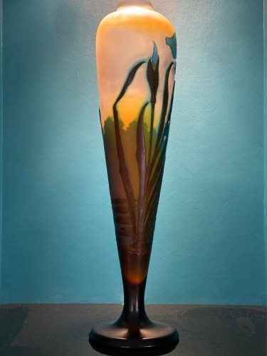 Emile Gallé - Iris and water lilies vase -