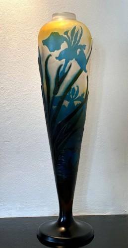 Antiquités - Emile Gallé - Iris and water lilies vase