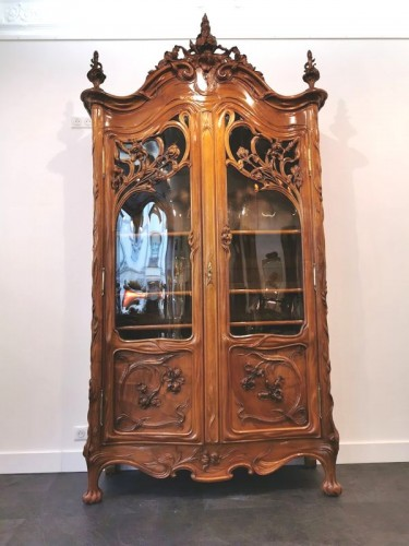Art Nouveau bookcase, Ecole de Nancy - Furniture Style Art nouveau