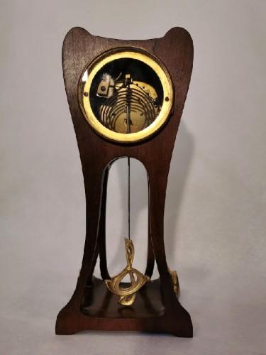 Antiquités - Louis Majorelle - Art Nouveau clock with poppies