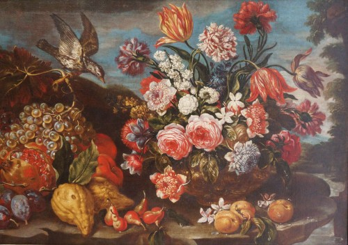 Giacomo Nani (1698-1755) - Still life with flowers, fruit and bird