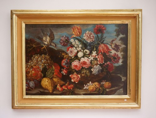Giacomo Nani (1698-1755) - Still life with flowers, fruit and bird - Paintings & Drawings Style Louis XV