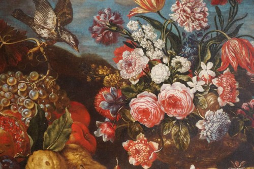 Paintings & Drawings  - Giacomo Nani (1698-1755) - Still life with flowers, fruit and bird