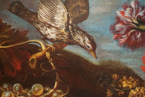 Antiquités - Giacomo Nani (1698-1755) - Still life with flowers, fruit and bird