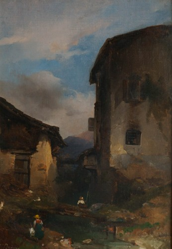 Domenico Induno (Milan, 1827-1890) - Villagers at the entrance of a village