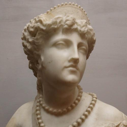 Jean Baptiste Auguste Clésinger, Marble Bust, Rome 1868 - Sculpture Style Napoléon III
