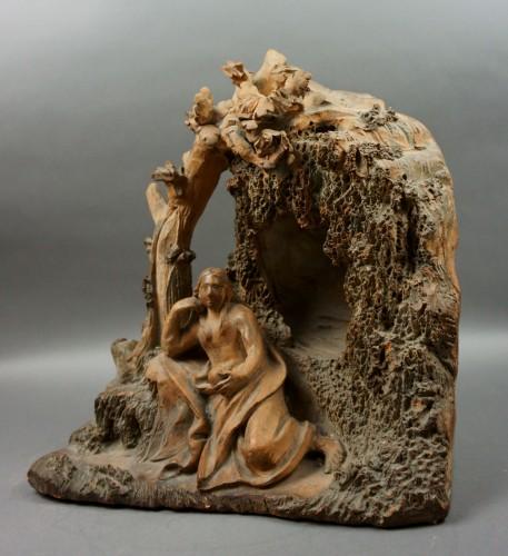 17th century - 17th Century Baroque Penitent Magdelene Terra Cotta Sculpture