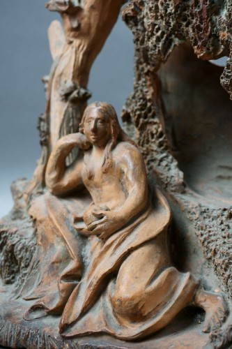 17th Century Baroque Penitent Magdelene Terra Cotta Sculpture - Louis XIV